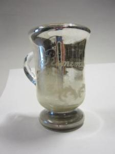 Silvered glass mug etched with'Remember Me' c.1900