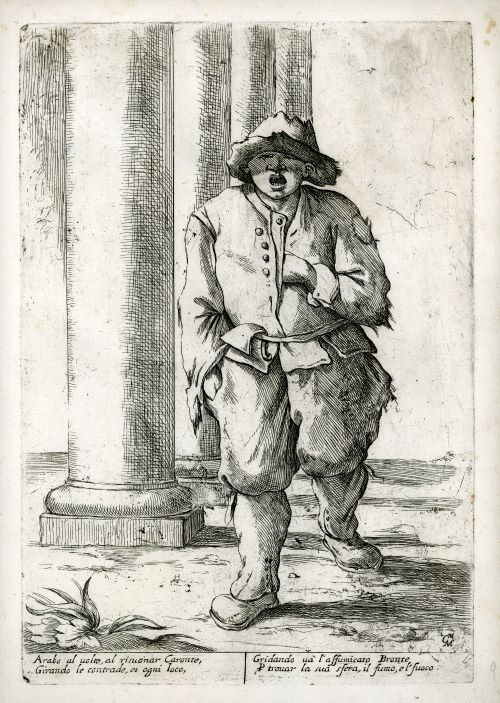 Black and White painting of a Sweep walking somewhere. He is wearing an old outfits with hole in it. He is also wearing a hat and boots.