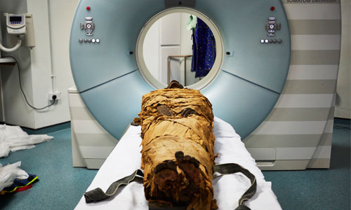 Image of mummy entering the MRI scanner