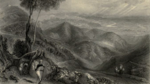 A black and white illustration of the himalayan muntains with a person in the foreground holding a rifle. There are also people on a horse in the distance.