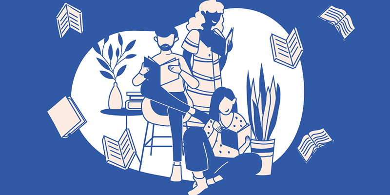 An illustration of men and women reading books sat by plants against a blue background