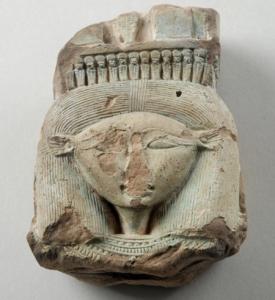 The stone head of Hathor