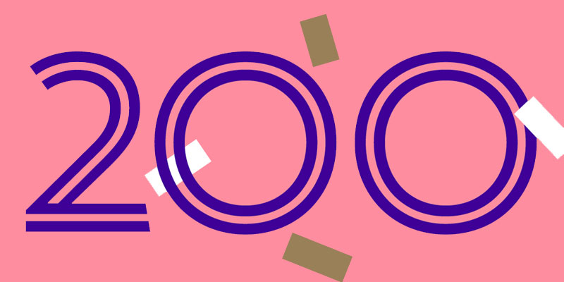 200 written in purple text on a pink background with white and gold confetti